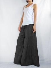 C01 Breezy Mist Women Black Wide Leg Pants Cotton Beach Palazzo Pants Casual Trousers