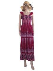I15 Caribbean Women Red Peacock Prints Long Maxi Dress