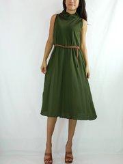 H02 Classy Summer Women Knee Length Casual Cotton Forest Green Dress