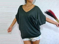 A06 Yes Sizzling Women Gray V Neck Oversized Top
