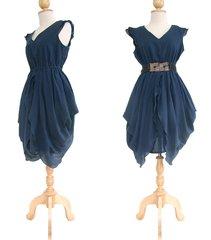 B18 The Fairy Unique Deep Navy Blue Layered Cocktail Mini Dress Knee Length