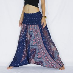 B20 Peacock Feathers Women Low Cut Jumpsuit Harem Pants in Navy Blue