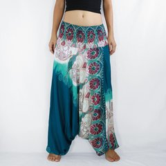 C06 Boho Turquoise Low Cut Jumpsuit Women Yoga Elephant Harem Pants