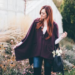 D16 Shadow Women Burgundy Hoodie Coat Hoodie Jacket Cotton Cape