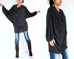 C07 In The Midst Women Black Tunic Mini Dress with Long Dolman Sleeves
