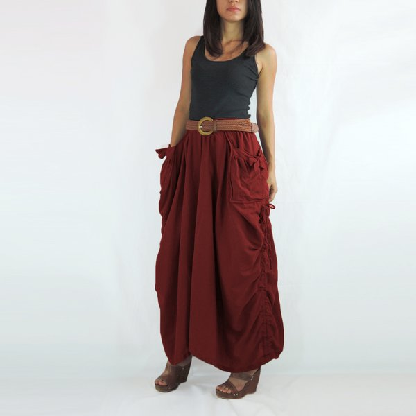 Women Fun Festival Cotton Boho Maxi Skirt in Red with Pockets ...