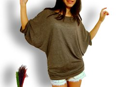 B03 Edgy Occasion Women Brown Oversized Batwing Tee