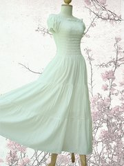 C14 Sweet Summer I Off White Ivory Women Cotton Romantic Maxi Dress