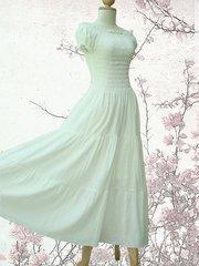 A11 Sweet Summer I Off White Ivory Women Cotton Romantic Maxi Dress