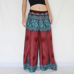 D05 Asana Women Loose Comfy Wide Leg Pants in Red