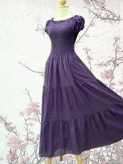 B15 Sweet Summer I Women Purple Plum Cotton Peasant Maxi Dress