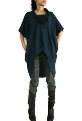 C12 Divided By Two Boho Cotton Women Navy Blue Oversized Tunic