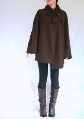 F05 Wonder Spring Fall Women Coffee Brown Cloak Coat Layered Cape Coat