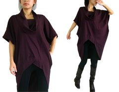 B16 Divided By Two Boho Burgundy Cotton Women Oversized Tunic Top