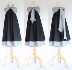 A23 Spring Leaves Convertible Black Summer Women Strapless Bridesmaid Bow Mini Dress