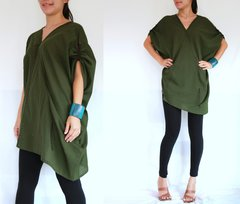 A17 Retro Karen Women Oversized Green Tunic Summer Bohemian Boho Top