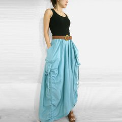 C22 The One and Only Light Blue Cotton Maxi Skirt