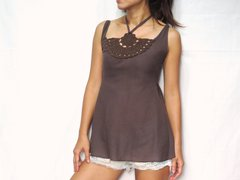 B14 Chakra Sexy Cute Women Brown Taupe Lace Crochet Top Halter Neck