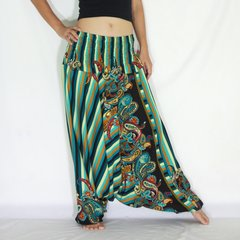 C22 Boho Funky Green Striped Low Cut Jumpsuit Women Harem Pants