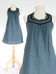 F15 Summer Flirt Women Gray Cadet Blue Bib Dress Cotton Mini Dress
