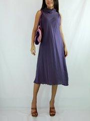 E12 Classy Summer Women Loose A-Shape Purple Plum Cotton Dress