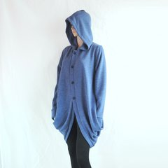 F24 Wanderer Women Blue Jacket Long Winter Oversized Hooded Coat Knee Length