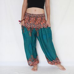 D10 Genie Mandalas Turquoise Harem Pants w. Pockets