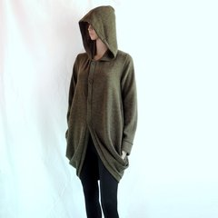 B20 Wanderer Women Army Green Jacket Long Winter Oversized Hooded Coat Knee Length