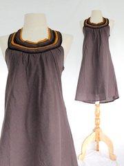 I09 Summer Flirt Women Gray Brown Bib Dress Cotton Mini Dress