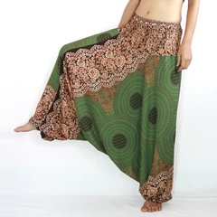 D17 Mandalas Women Yoga Low Cut Jumpsuit Harem Pants in Olive