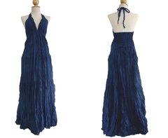 B06 Simply Elegant Navy Blue Halter Maxi Dress Summer Bridesmaid Dress