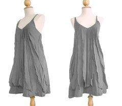 C24 Sea of Love Women Petit Spaghetti Strap Ruffled Summer Gray Mini Dress