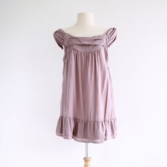 B11 Pollens Loose Comfy Women Misty Pink Cotton Sleeveless Peasant Blouse