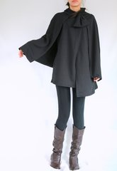 C04 Wonder Spring Fall Women Black Cloak Coat Layered Cape Coat