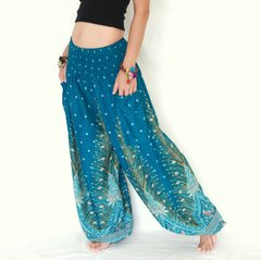 E09 Genie Peacock Feathers Turquoise Harem Pants w. Pockets
