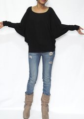 B24 Swift Black Women Jersey Oversized Top Dolman Long Sleeve Shirt