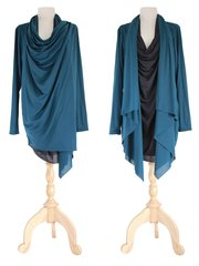 F13 High Street Women Teal Black Asymmetrical Tunic Top Long Slouchy Wrap Cardigan