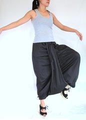 B17 Mulan Women Gray Harem Pants Sarouel Baggy Festival Loose Genie Pants