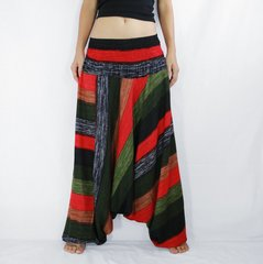 D24 Boho Green Striped Low Cut Jumpsuit Women Harem Pants