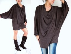 B10 In The Midst Women Brown Mini Dress Tunic Boho Oversized Long Dolman Sleeves