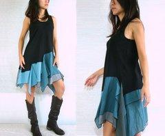 A09 Summer Flirt Festival Black Mini Boho Pixie Dress Summer Sundress Tunic