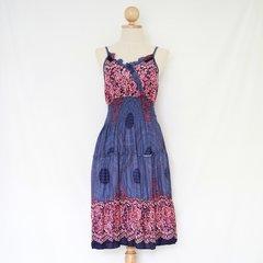 E09 Ratree Women Mandalas Blue Mini Dress Knee Length