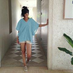 A07 Retro Karen Women Blouse in Light Blue Loose Cotton Bohemian Boho Top