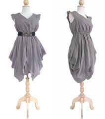 A20 The Fairy Women Unique Gray Dress Layered Cocktail Mini Dress Knee Length
