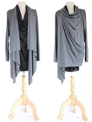 E11 High Street Women Gray Long Wrap Cardigan Asymmetrical Layered Tunic Top