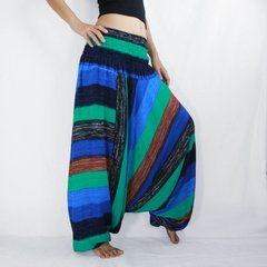 C08 Boho Turquoise Striped Low Cut Jumpsuit Women Harem Pants