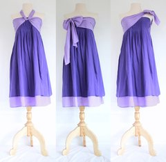 C11 Spring Leaves Convertible Summer Women Purple Violet Bow Bridesmaid Mini Dress