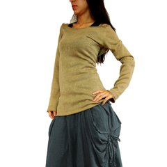 D25 Sukoi Women Off Shoulder Sweater Top in Beige
