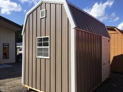 8x12 Metal Buckskin/White Amish Barn