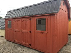10x16 Amish Rustic Red w/Black Roof